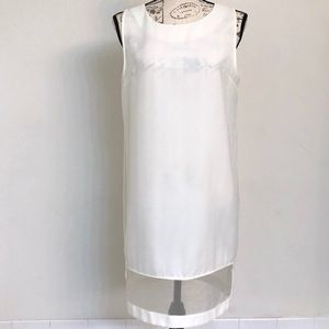Umgee White Shift Dress with Mesh Panel